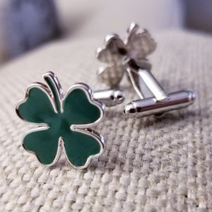 four leaf Clover stainless steel cuff links